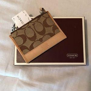 New in Box Coach Signature Mini Skinny Wallet